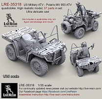 LRE35318 US Military ATV - Polaris MV 850 ATV quadrobike. High realistic model, 57 parts in set. Ultra delicate cast