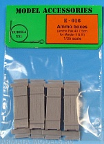 E-016 Дополнения для моделей Wooden ammo boxes for 7,5 cm Pak.40  (Pak 40 gun and SPG.s Marder II i Marder III) Set contains following elements in 1/35 scale: 8 resin parts.
