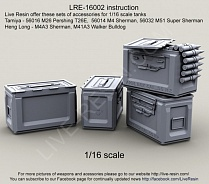 LRE16002 WWII US Army .50 M2 Ammunition Ammo Box opened for 1/16 scale tanks: Tamiya - 56016 M26 Pershing T26E,  56014 M4 Sherman, 56032 M51 Super Sherman; Heng Long - M4A3 Sherman, M41A3 Walker Bulldog, 1/16 scale