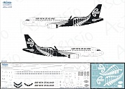 320-030 Декаль для самолета Airbus A320 Air New Zealand (Black Scheme) 1/144