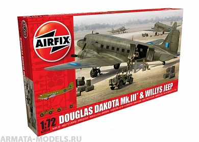 9008А Самолет Douglas Dakota Mkiii With Willys Jeep Airfix, 1/72