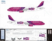 320-026 Декаль для самолета Airbus A320 Wizz Air (OLD livery) 1/144