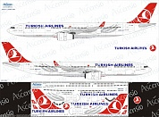 333-003 Декаль для самолета Airbus A330-300 Turkish Airlines 1/144