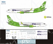 738-068 Декаль для самолета Boeing 737-800 One World (S7 Airlines new)  1/144