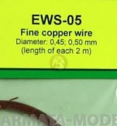 EWS-05 Дополнения для моделей Universal multi-scale 0.45 mm / 0.50 mm fine cooper wires for any scale model kits and dioramas. 2 meters each diameter.